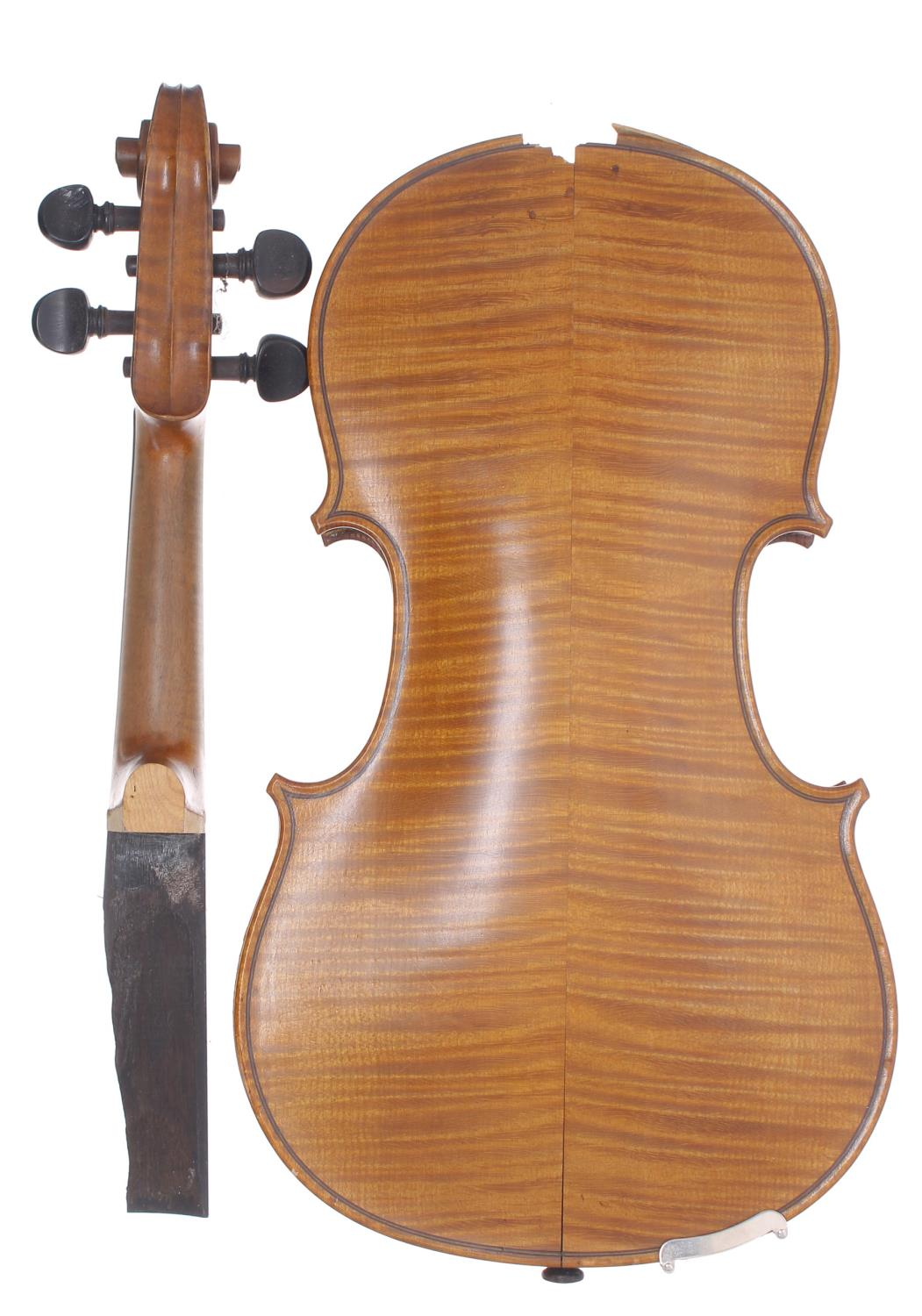 Early 20th century violin in need of restoration, case - Image 2 of 4