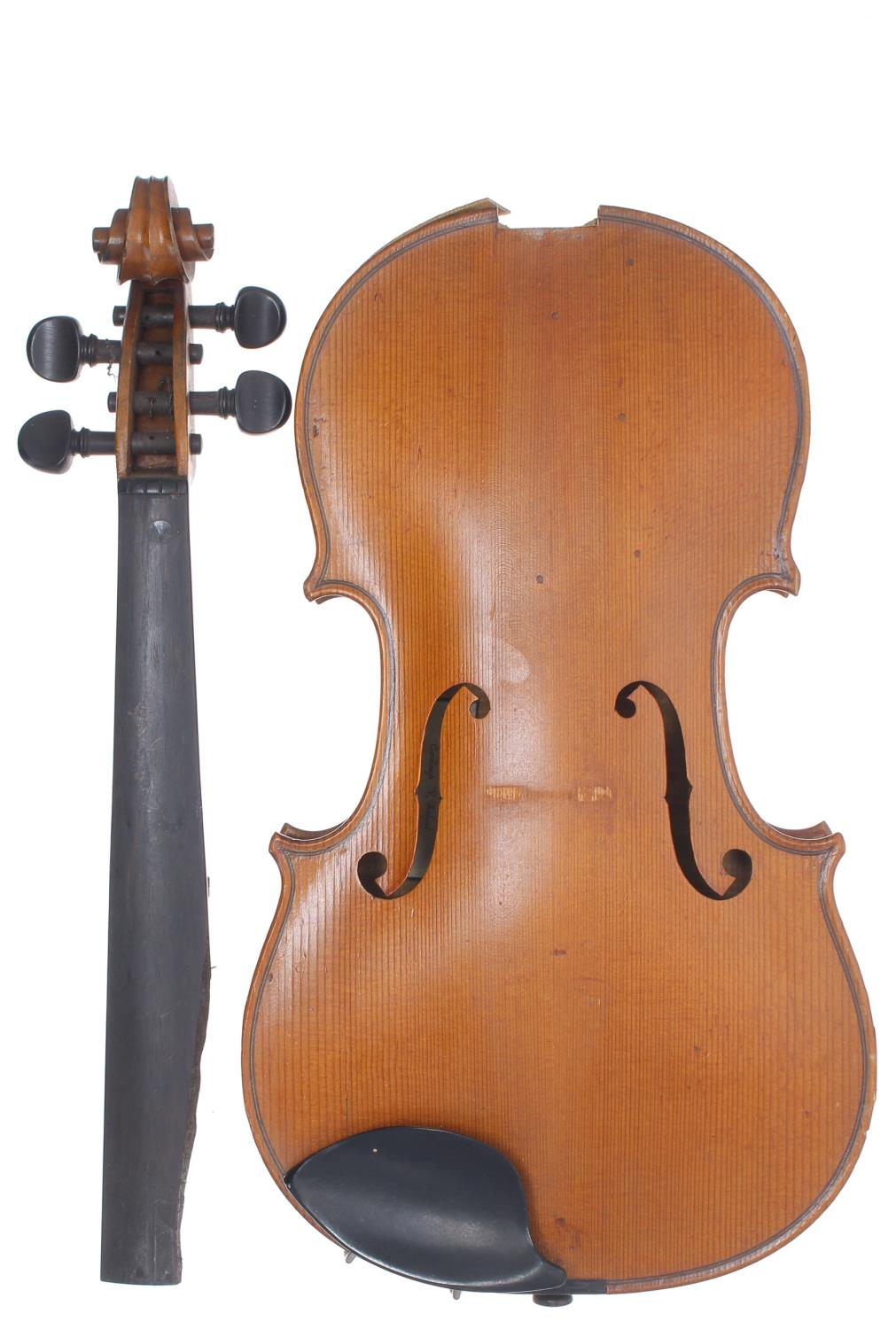 Early 20th century violin in need of restoration, case