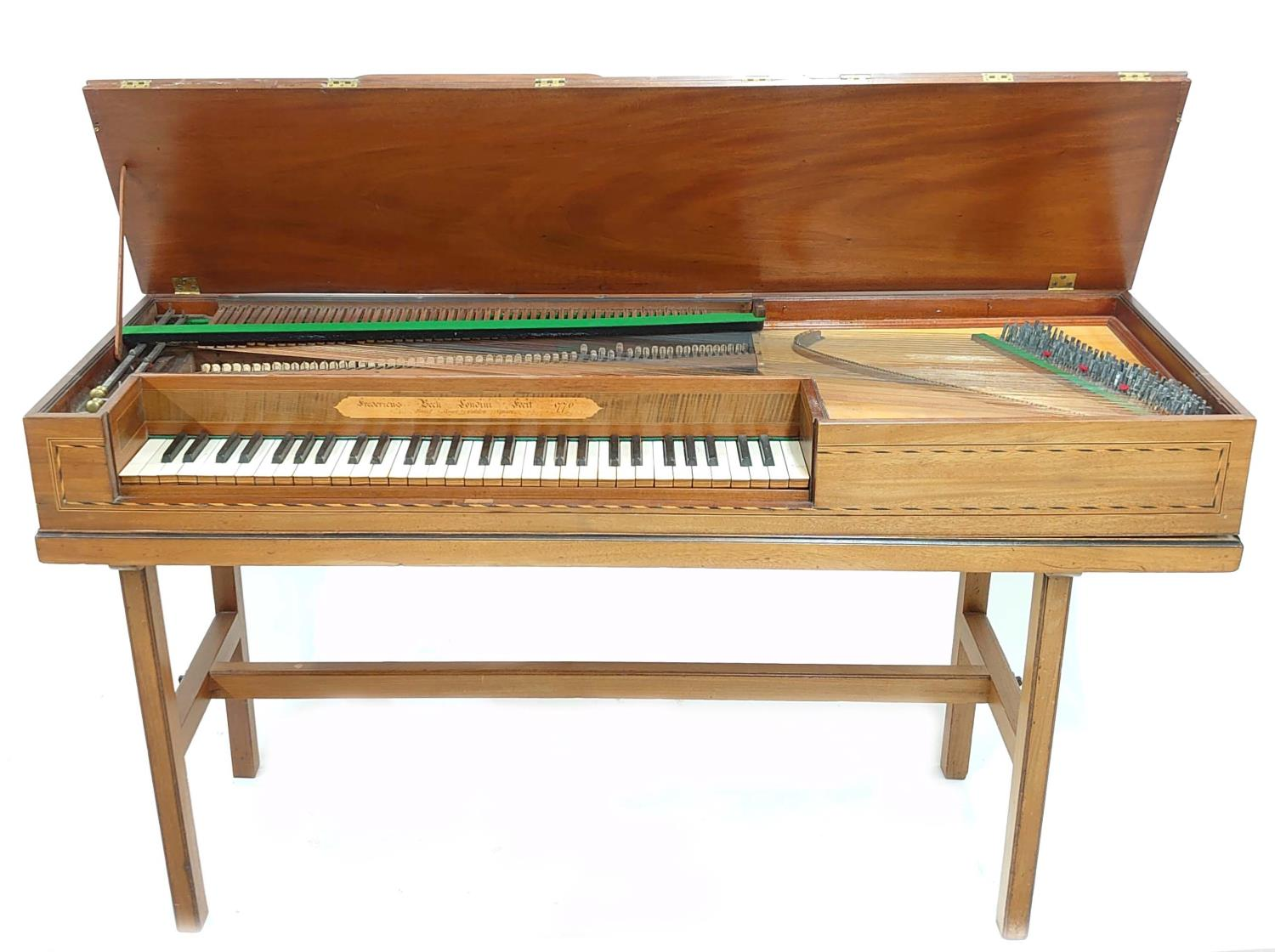 Square piano by Frederick Beck, London 1776, the case of mahogany with chequered stringing, the