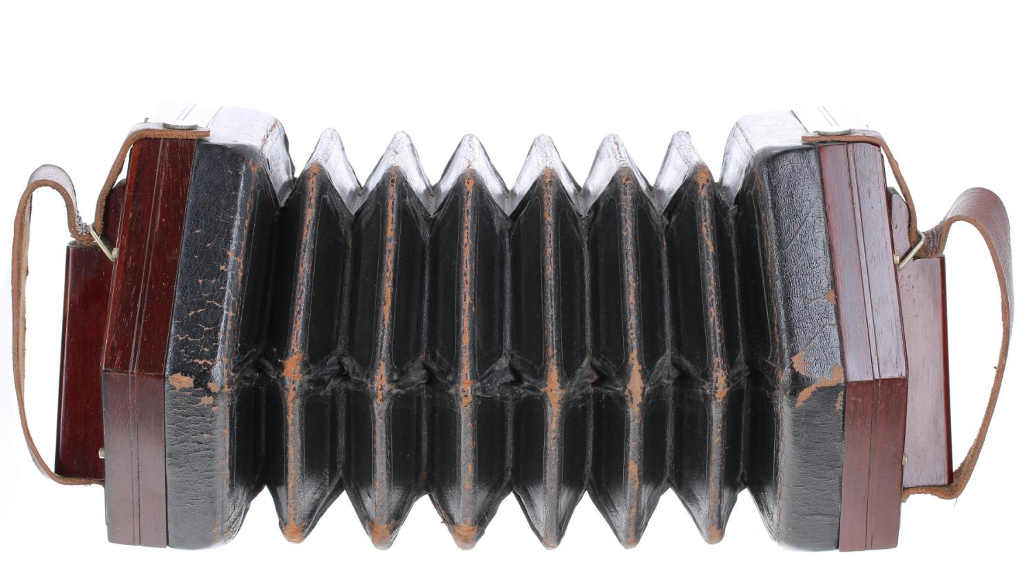 Good Wheatstone duet concertina with forty-six metal buttons on pierced foliate metal ends, six-fold - Image 2 of 3