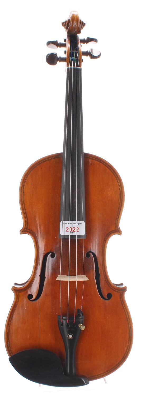 """Early 20th century Maggini copy violin labelled Nicolas Lupot..., 14 1/4"""", 36.20cm"""