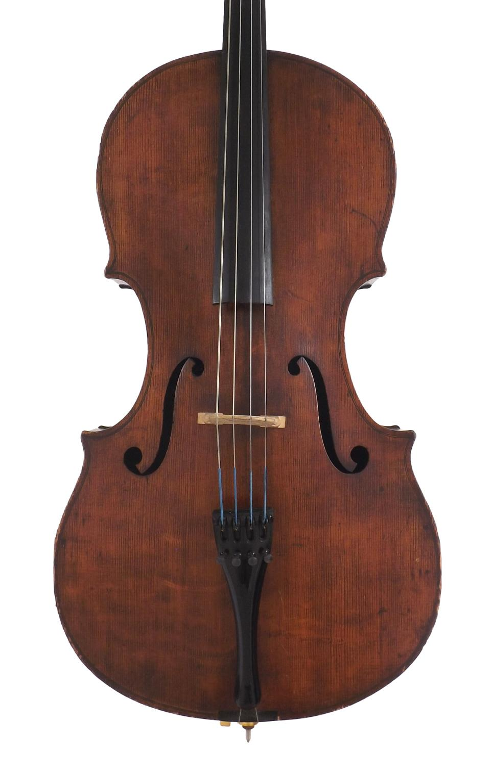 Interesting 19th century violoncello labelled Gustave Mavard, Brussels 1889, the two piece back of
