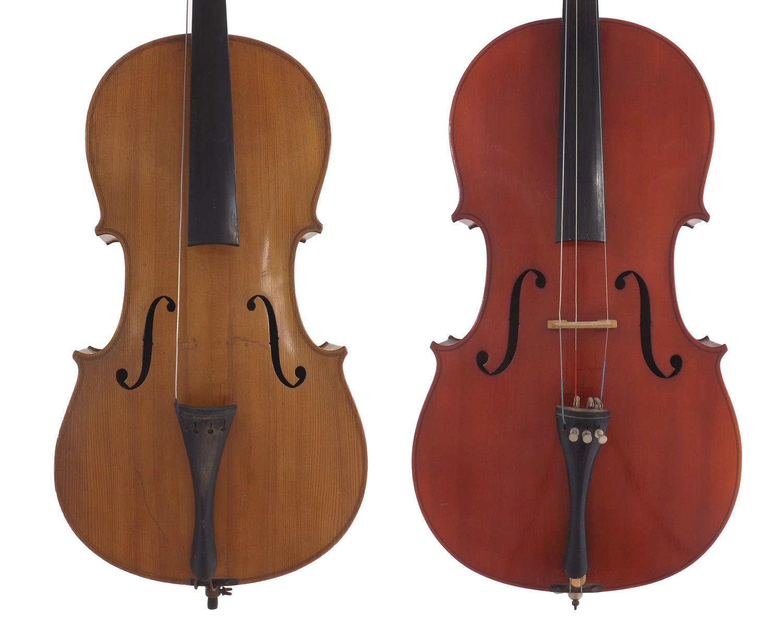 """Mid 20th century German three-quarter size violoncello, 27 1/2"""", 69.90cm; also a contemporary full"""