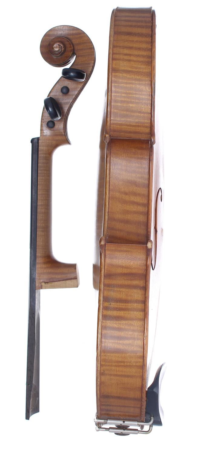 Early 20th century violin in need of restoration, case - Image 4 of 4