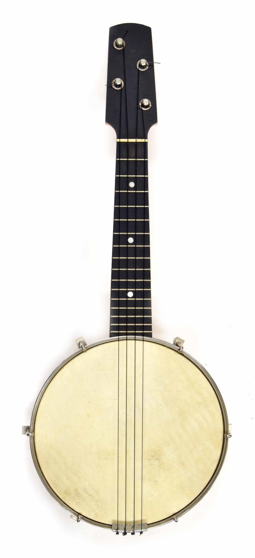 "Mid 20th century ukulele banjo with detachable resonator, 8"" skin (restored), case"