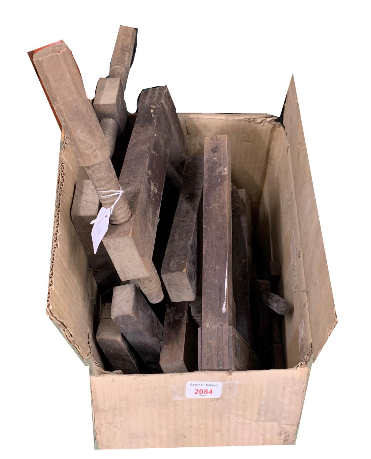 Quantity of wooden G clamps of various sizes