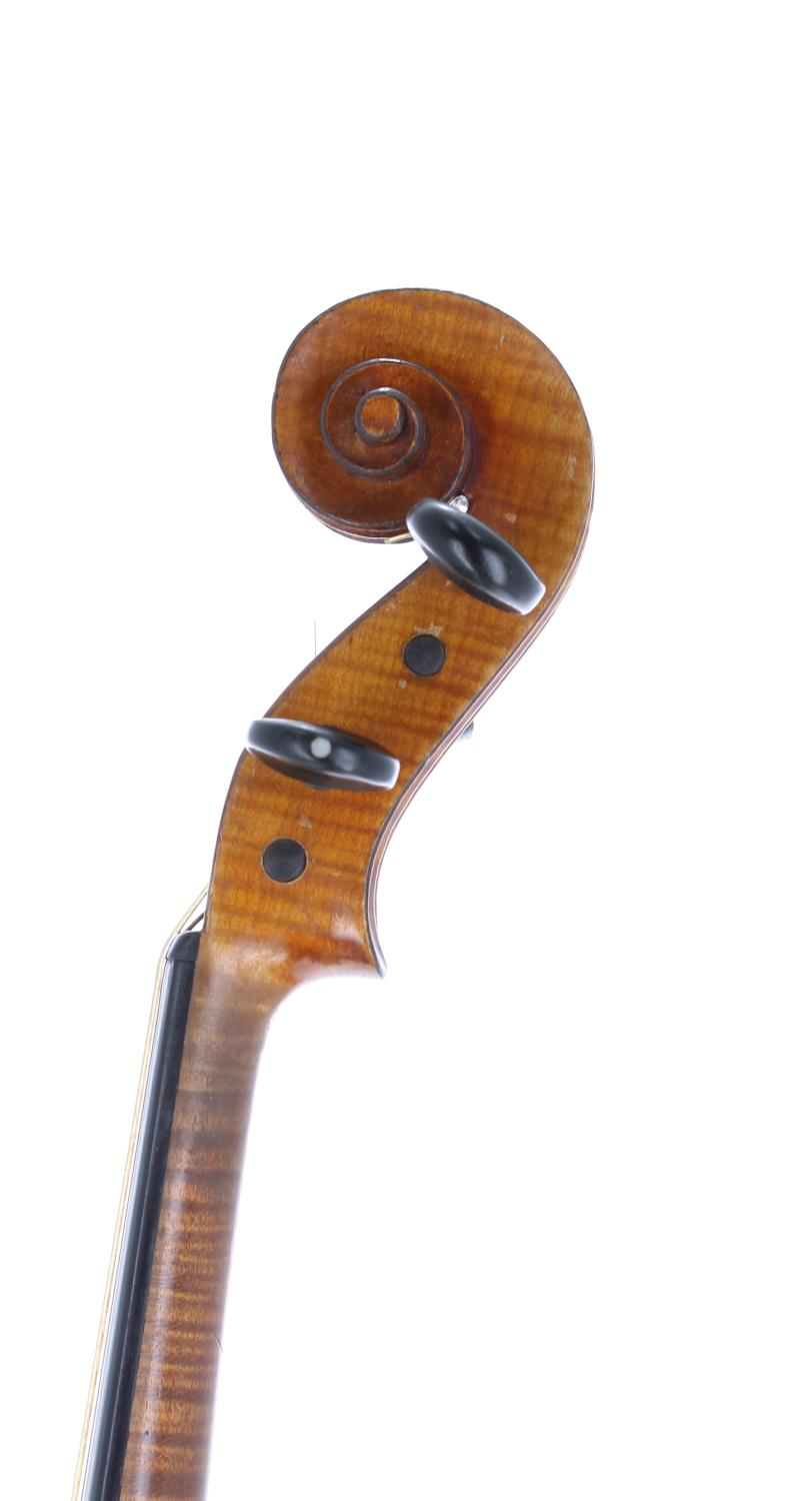 """French J.T.L. seven-eighth size violin, 13 3/4"""", 35.90cm, two bows - Image 3 of 3"""