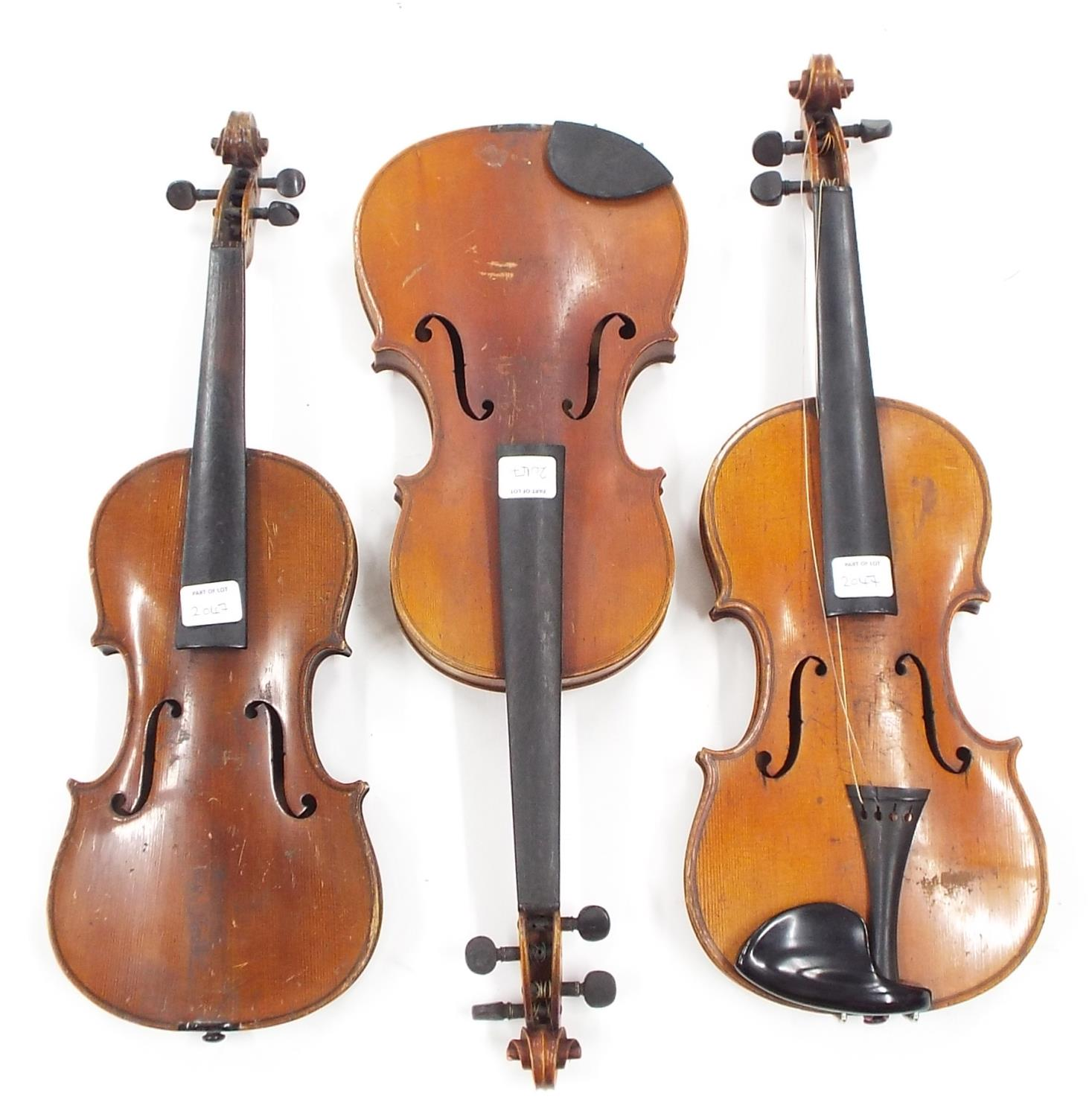 """French tree-quarter size JTL violin, 13"""", 33cm; also another three-quarter size violin and a half"""