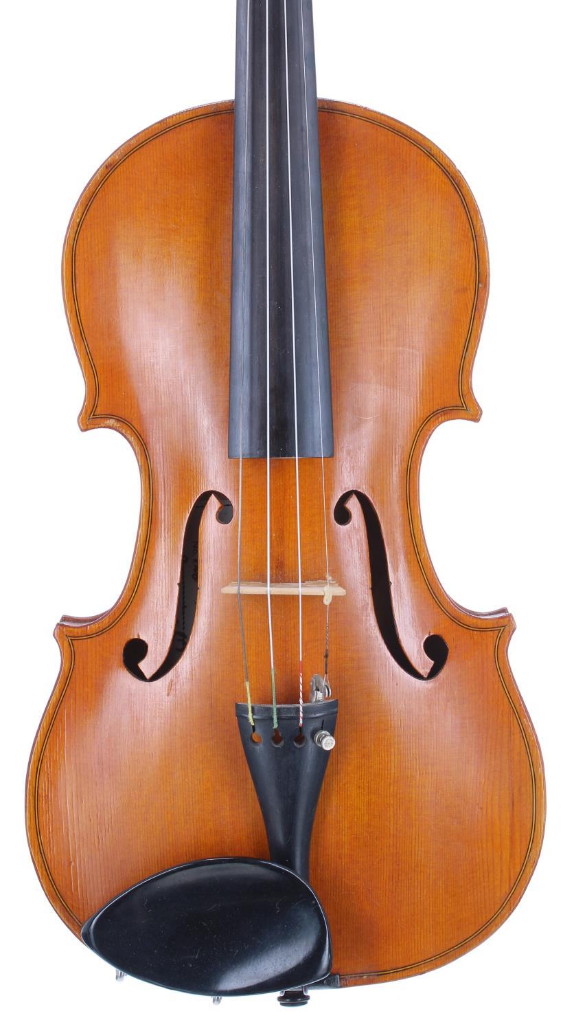 English violin by and labelled Dennis G. Plowright, maker, 28 Raleigh Road, Exmouth, no. 128, 1988