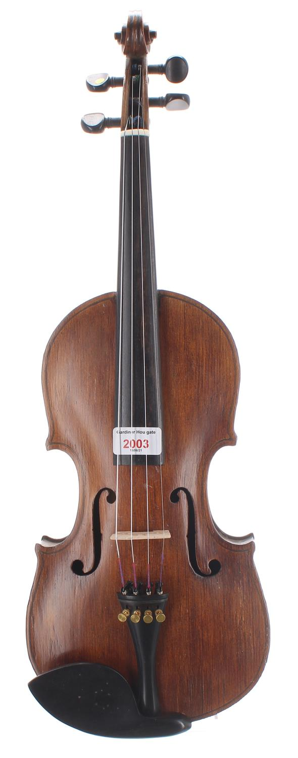 Interesting 19th century violin with good two piece maple back of an attractive irregular curl,