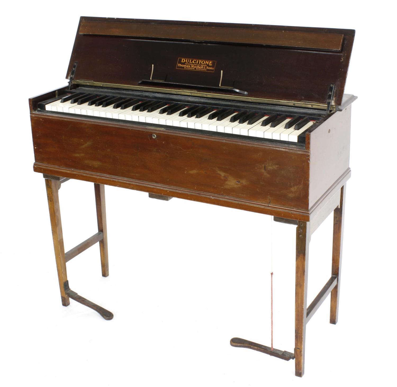 Old mahogany dulcitone inscribed Dulcitone Patentees and Sole Makers Thomas Mahell & Sons,