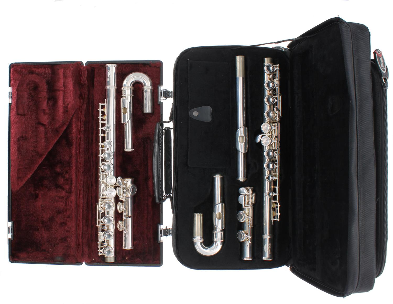 Stagg 77-FE U silver plated flute with curved head joint, case; also a Stagg 77-FE silver plated