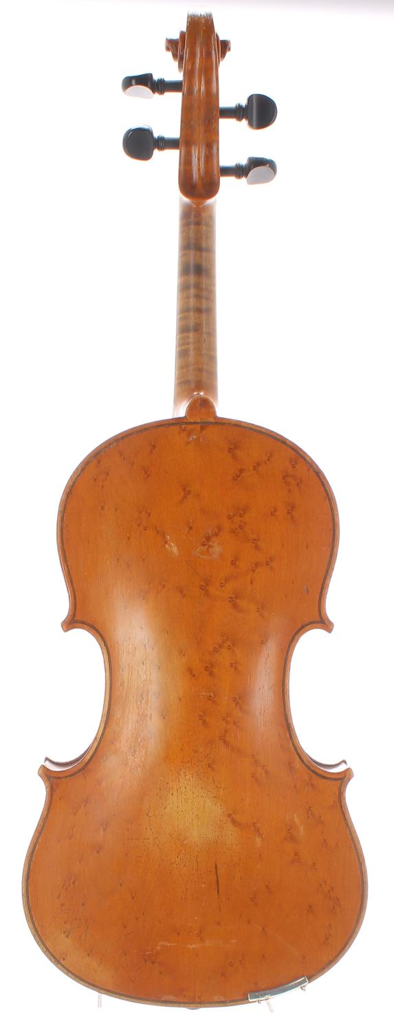 Early 20th century German violin with birds eye maple back and sides, bearing an indecipherable - Image 2 of 2