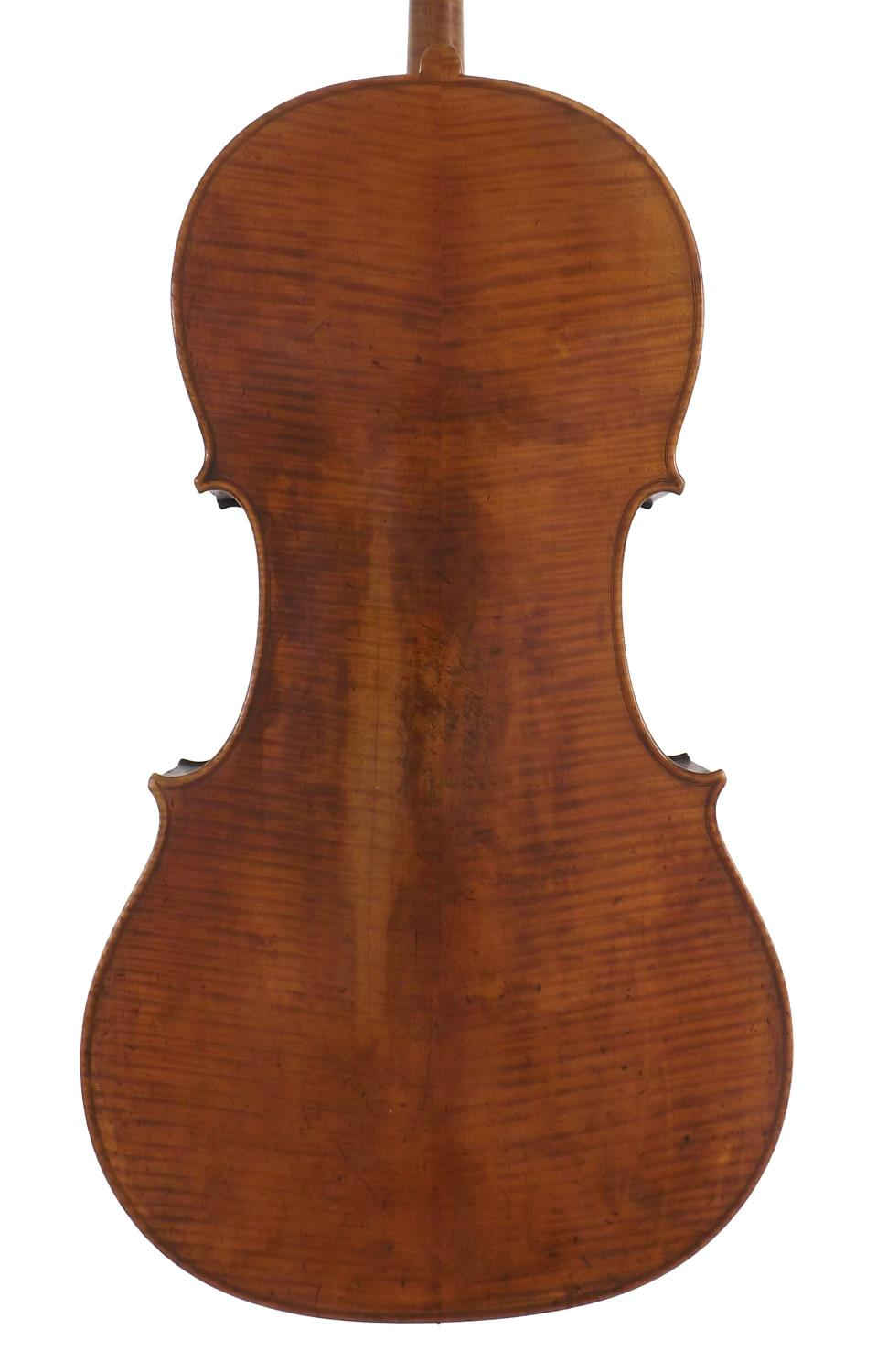 Good 19th century German violoncello labelled Louis Noebe...Hamburg and inscribed in ink on the - Image 2 of 3
