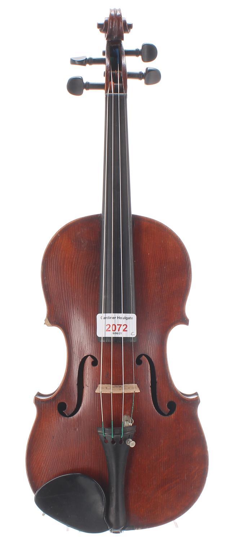 """French JTL half size violin circa 1900, labelled Medio-Fino, 11 7/8"""", 30.20cm, case"""