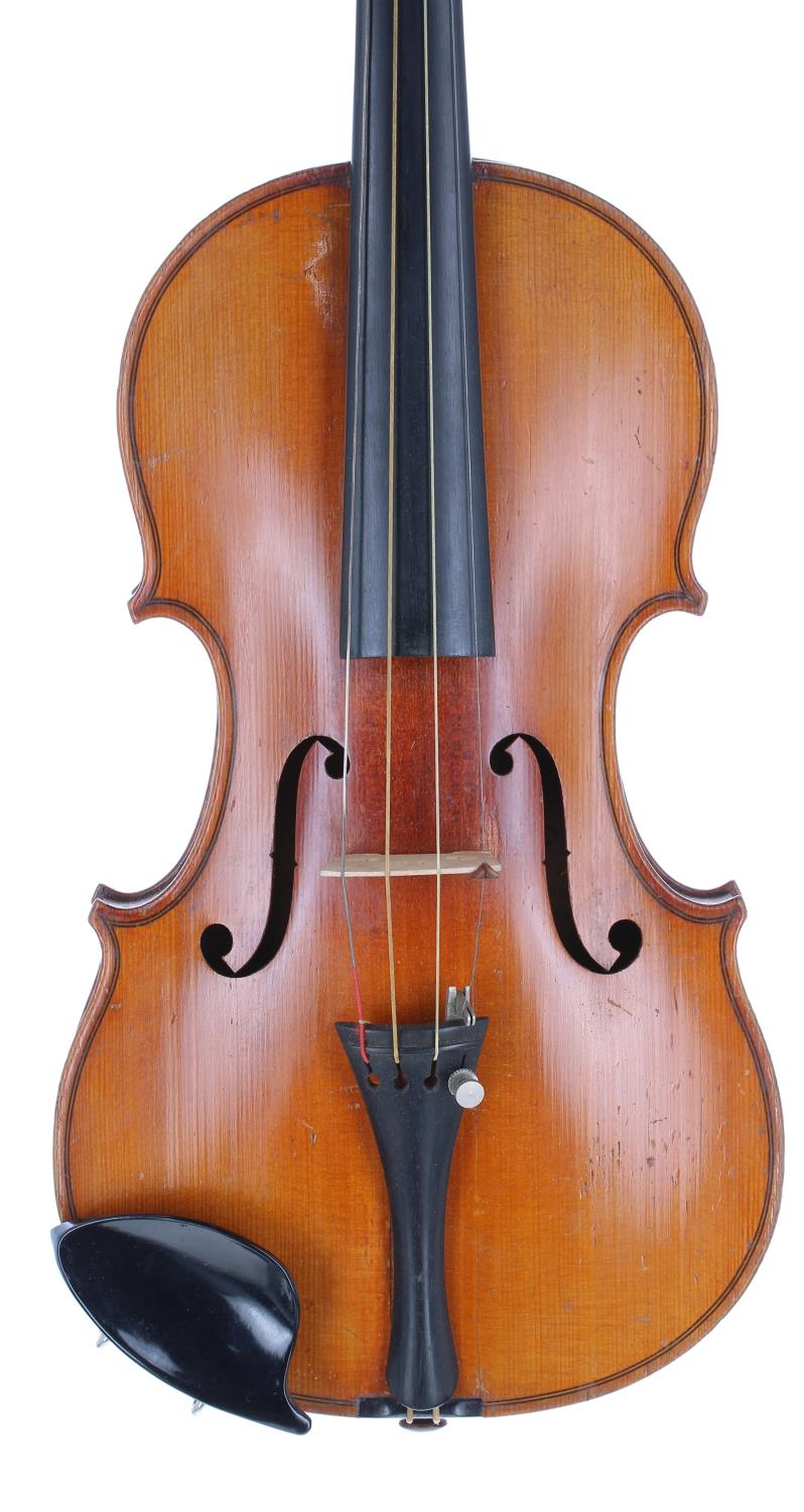 """French J.T.L. seven-eighth size violin, 13 3/4"""", 35.90cm, two bows"""
