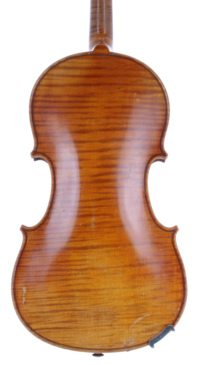 """French J.T.L. seven-eighth size violin, 13 3/4"""", 35.90cm, two bows - Image 2 of 3"""