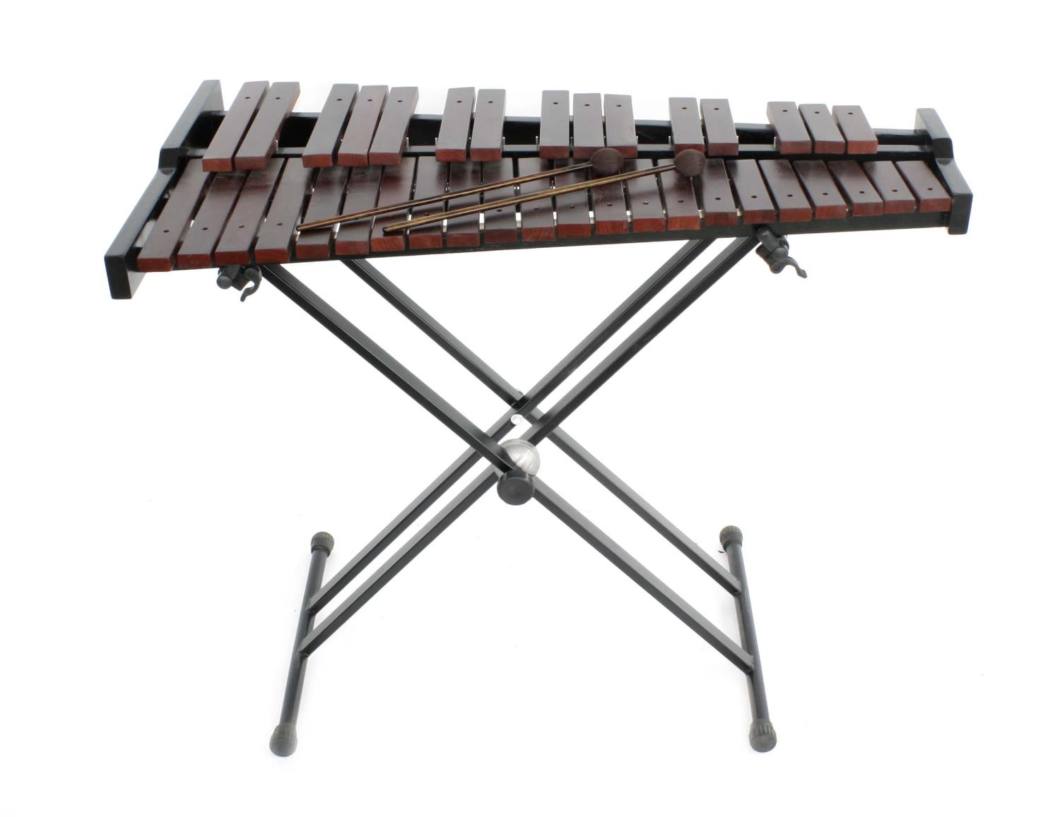 """Contemporary Stagg xylophone on folding stand and with two beaters, 40"""" wide"""