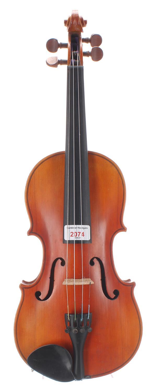 "Mid 20th century German three-quarter size violin, 13 5/8"", 34.60cm"