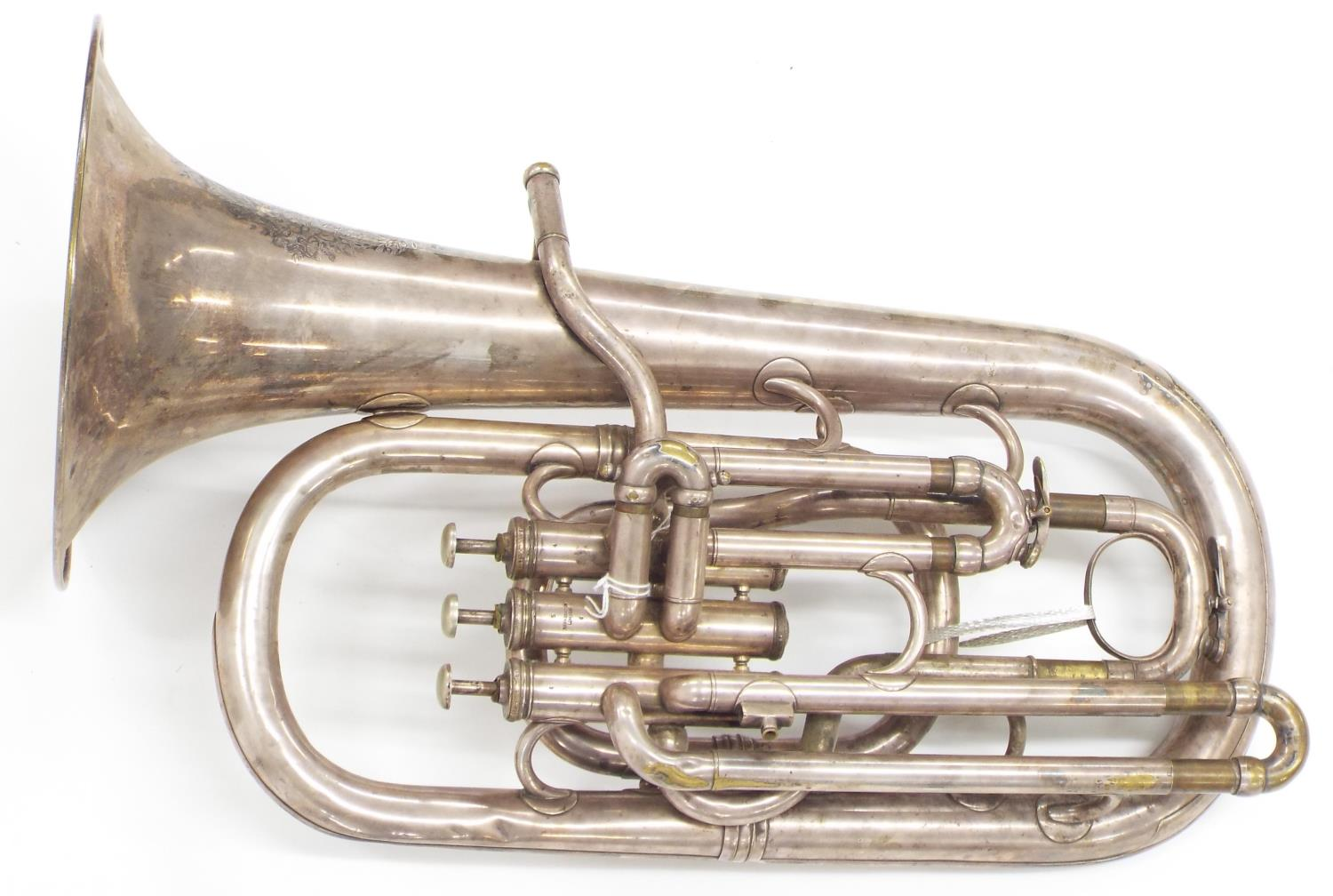 Baritone horn by and inscribed Hawkes & Son., London, Excelsior Sonorous, three Périnet valves