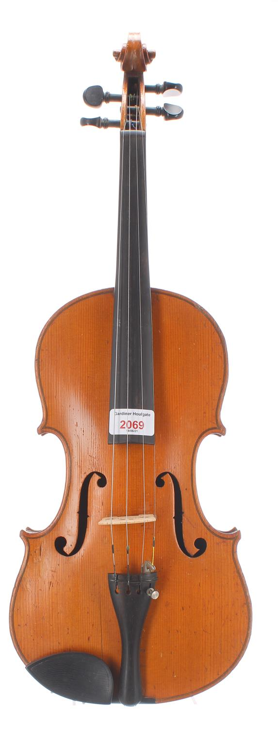 Early 20th century German violin with birds eye maple back and sides, bearing an indecipherable