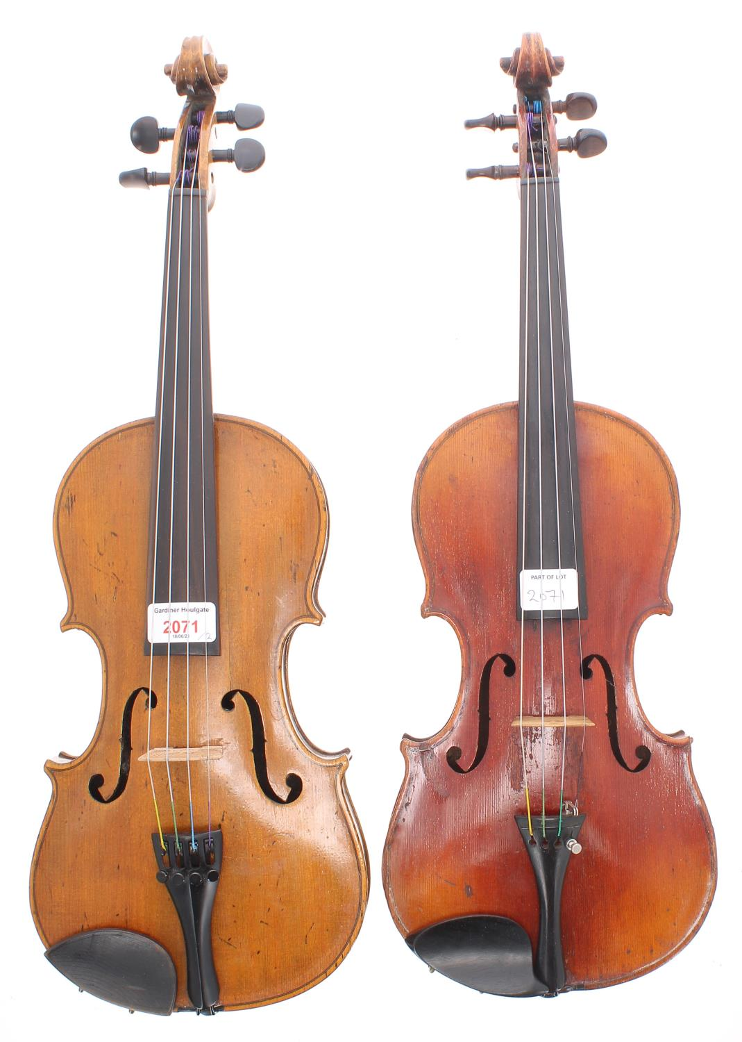 """German three-quarter size violin circa 1900, 13 1/8"""", 33.30cm; also another early 20th century"""