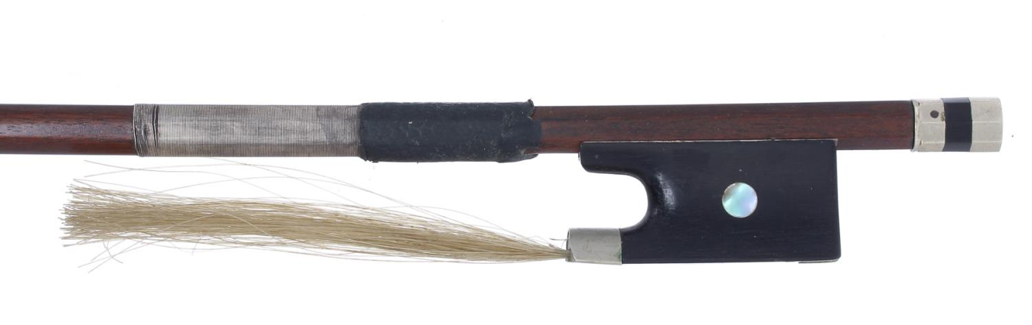 Nickel mounted violin bow, unstamped, 53gm (without hair) *Please check CITES regulations