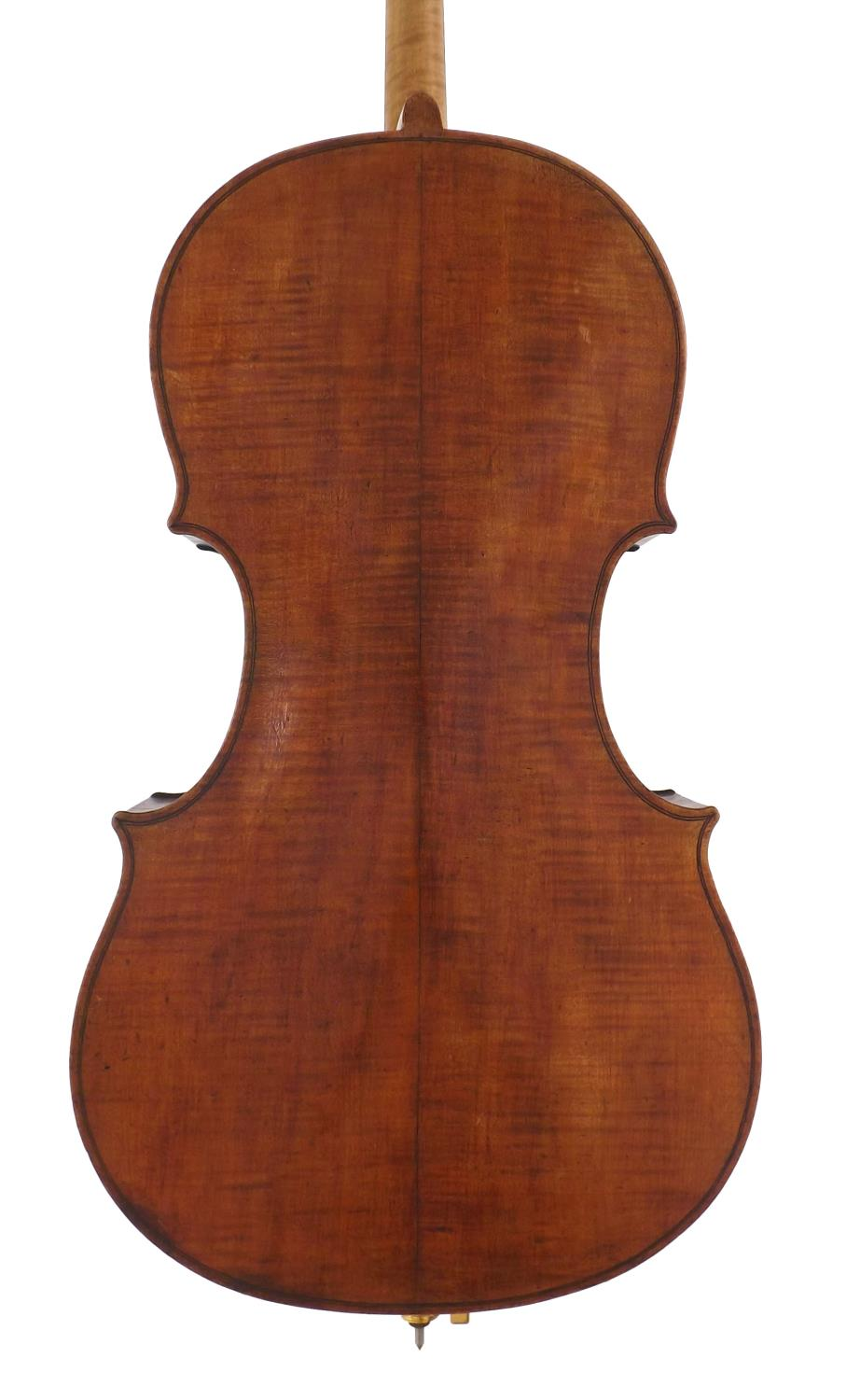 Interesting 19th century violoncello labelled Gustave Mavard, Brussels 1889, the two piece back of - Image 2 of 3