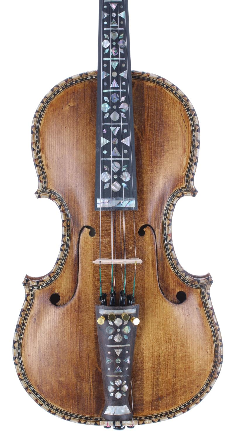 Interesting eight string Hardanger fiddle bearing a retail label inscribed GEH Fergul...1967, with
