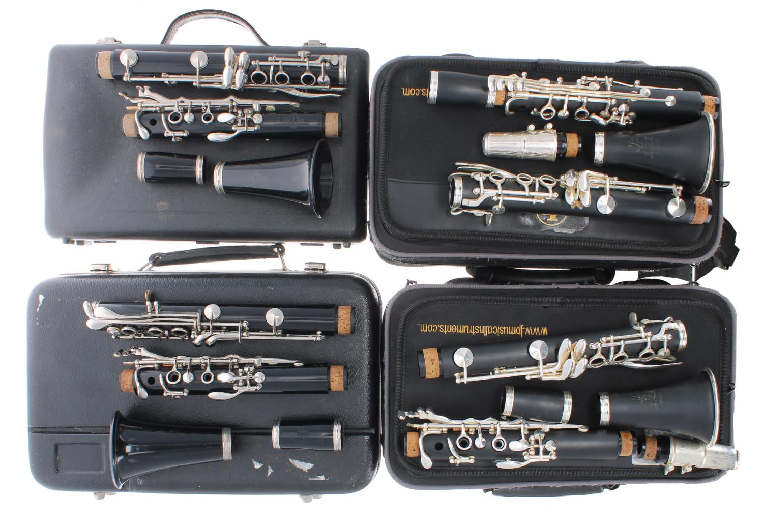 Two JP121 MKIV Model clarinets, both cased; also a Buffet Crampon & Cie clarinet and another, both