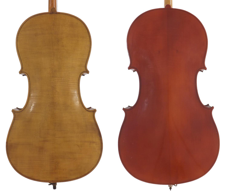 "Mid 20th century German three-quarter size violoncello, 27 1/2"", 69.90cm; also a contemporary full - Image 2 of 2"