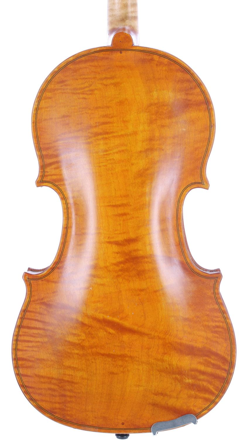 English violin by and labelled Dennis G. Plowright, maker, 28 Raleigh Road, Exmouth, no. 128, 1988 - Image 2 of 3