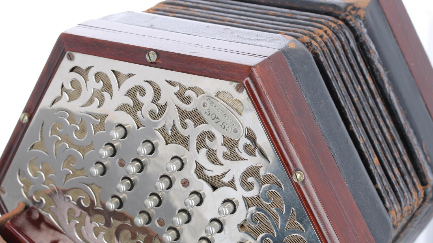 Good Wheatstone duet concertina with forty-six metal buttons on pierced foliate metal ends, six-fold - Image 3 of 3