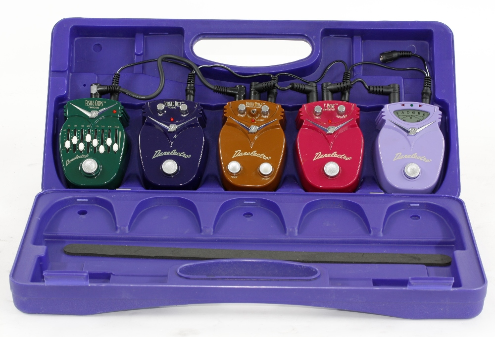 Five Danelectro mini guitar pedals including chromatic tuner, T-bone distortion, Rocky Road spinning