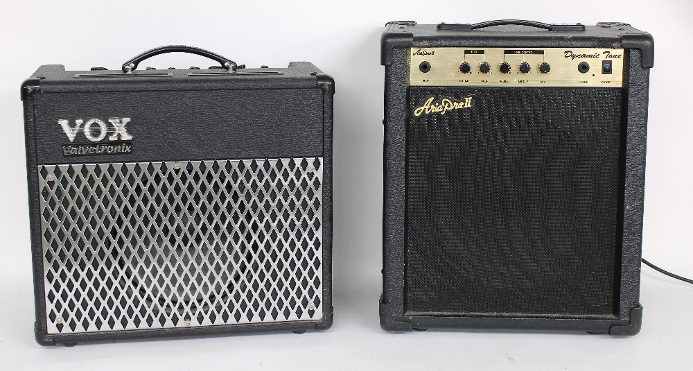Vox AD30VT guitar amplifier; together with an Aria Pro II dynamic tone guitar amplifier (2)
