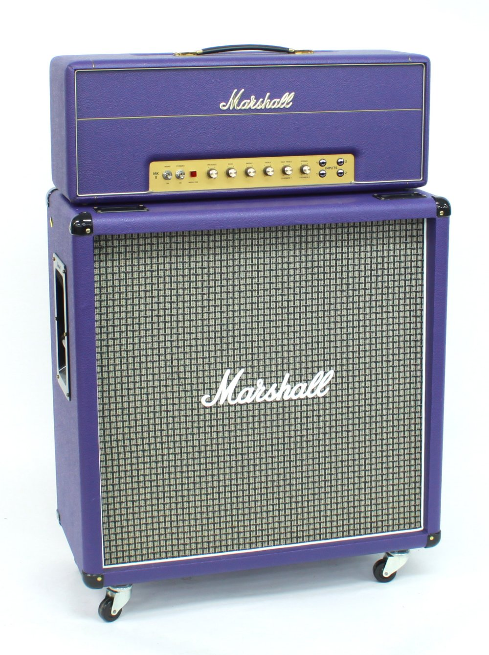 2007 Marshall Model 1959SLP Super Lead 100w MKII guitar amplifier head, made in England, with purple