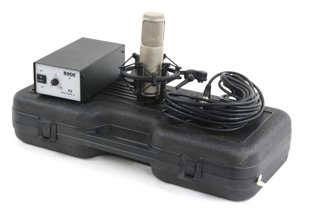 Rode K2 microphone outfit with power supply, shock mounts and cable, fitted within original hard