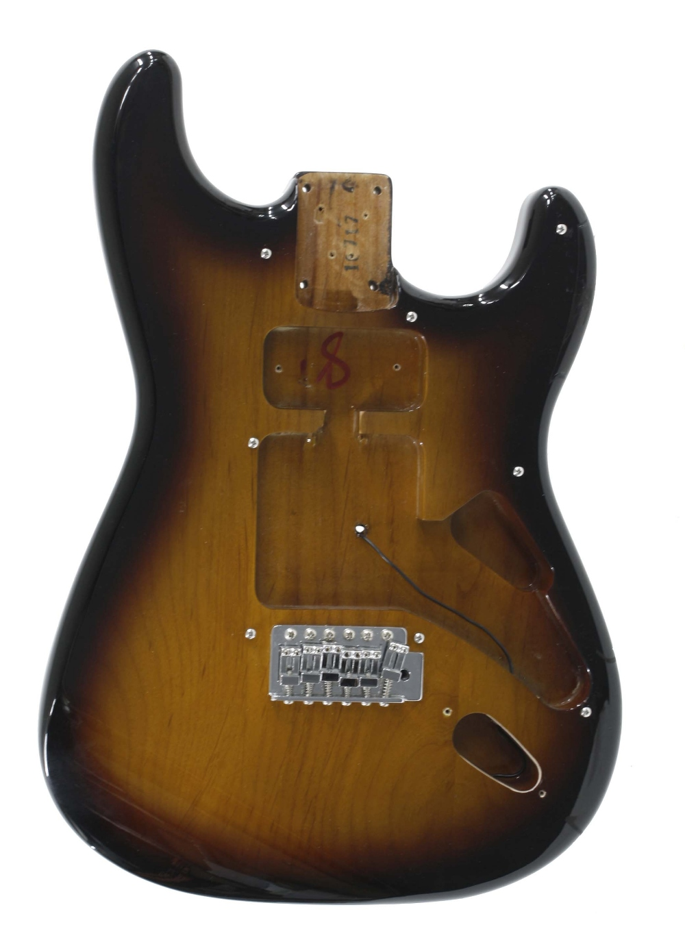 Sunburst finish alder Strat style guitar body, sold with bridge, strap buttons and various screws