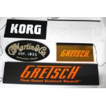 Five LED and other guitar shop / dealer display signs to include two Gretsch, C.F. Martin & Co,
