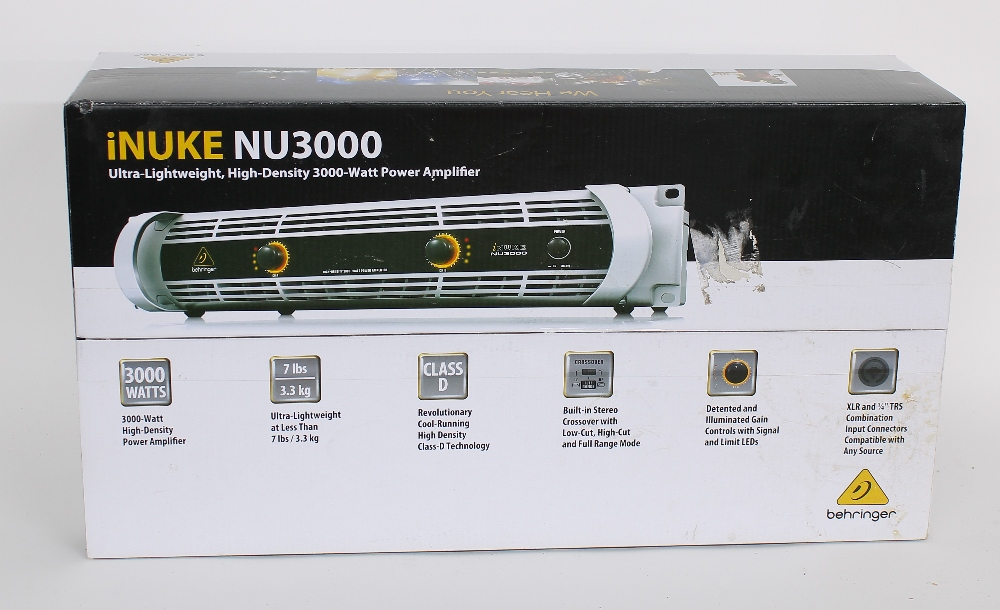 Behringer iNuke NU3000 power amplifier, boxed and sealed; together with a pair of Speakon cables