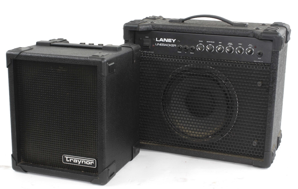 Laney Linebacker 30 reverb guitar amplifier; together with a Traynor Bloc 40B bass amplifier (2)