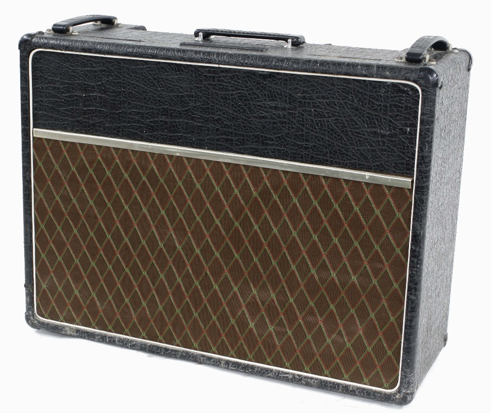Vox AC30 guitar amplifier, made in England, circa 1964, copper top panel, re-covered, enclosing