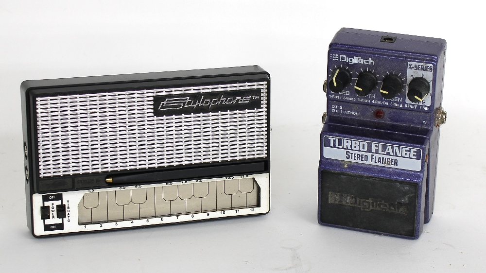Digitech Turbo Flange stereo flanger guitar pedal; together with a vintage Stylophone