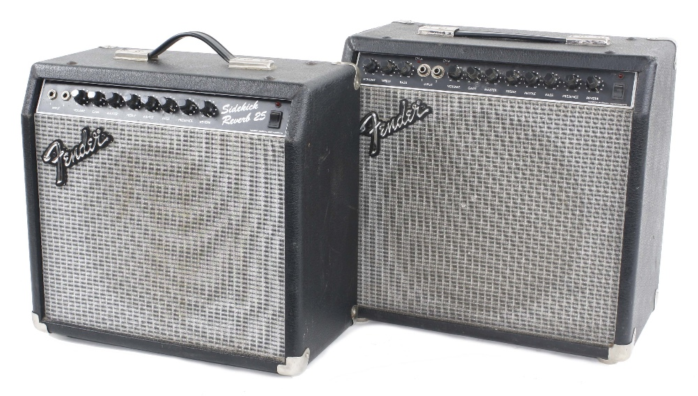 Fender Sidekick Reverb 25 guitar amplifier, made in Taiwan; together with a Fender Sidekick Switcher