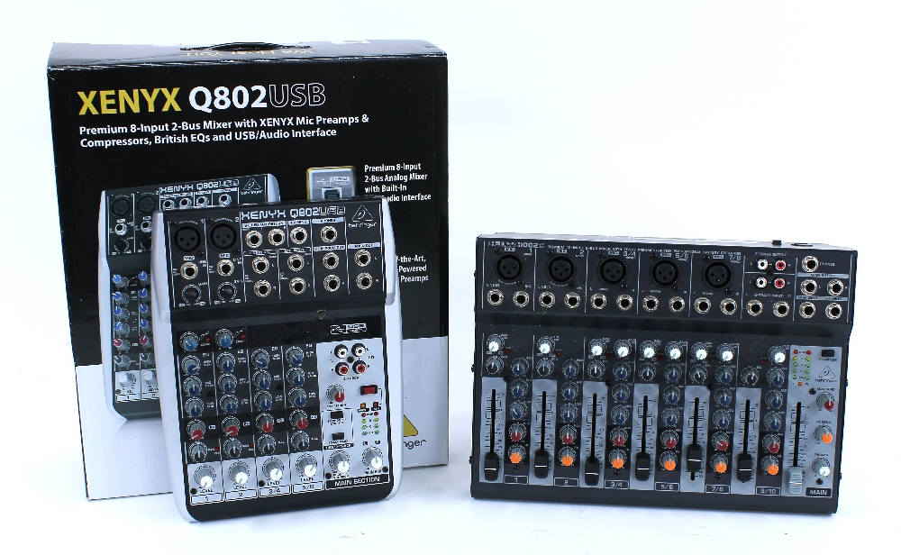 Behringer Xenyx 1002B studio mixer; together with a Behringer Xenyx Q802 USB mixer/audio