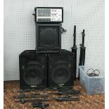 PA system comprising a Phonic Powerpod 740 powered mixer, a pair of Yamaha S15E speakers, a pair