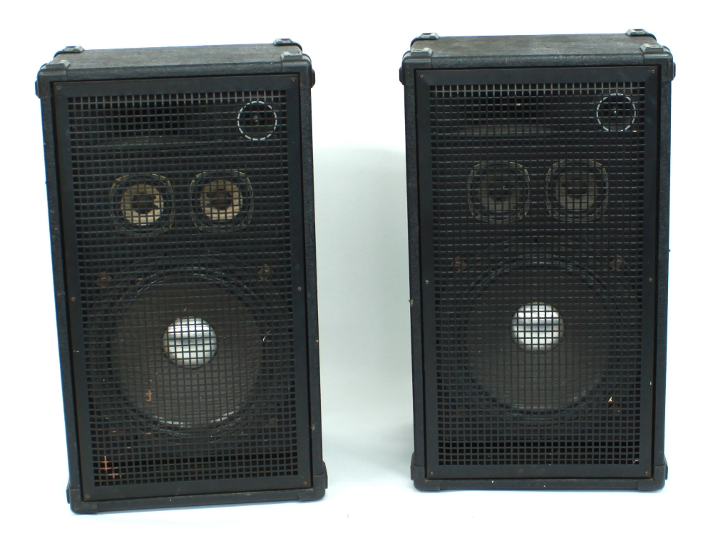 Pair of Rokk Systems 300 watt PA speakers, with stands
