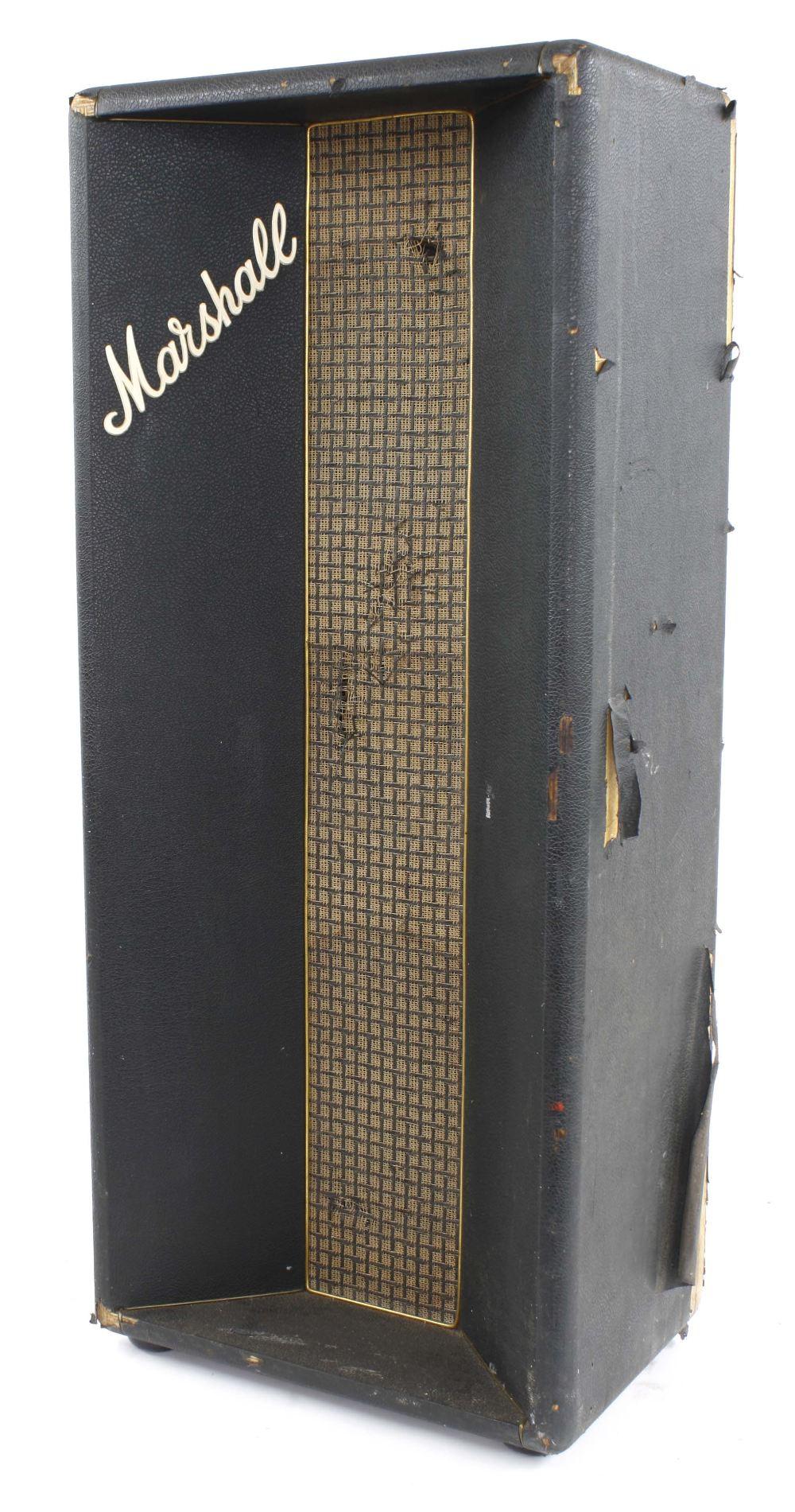 "Marshall column speaker cabinet enclosing a Celestion T1927 10"" speaker stamped BF22V and a"
