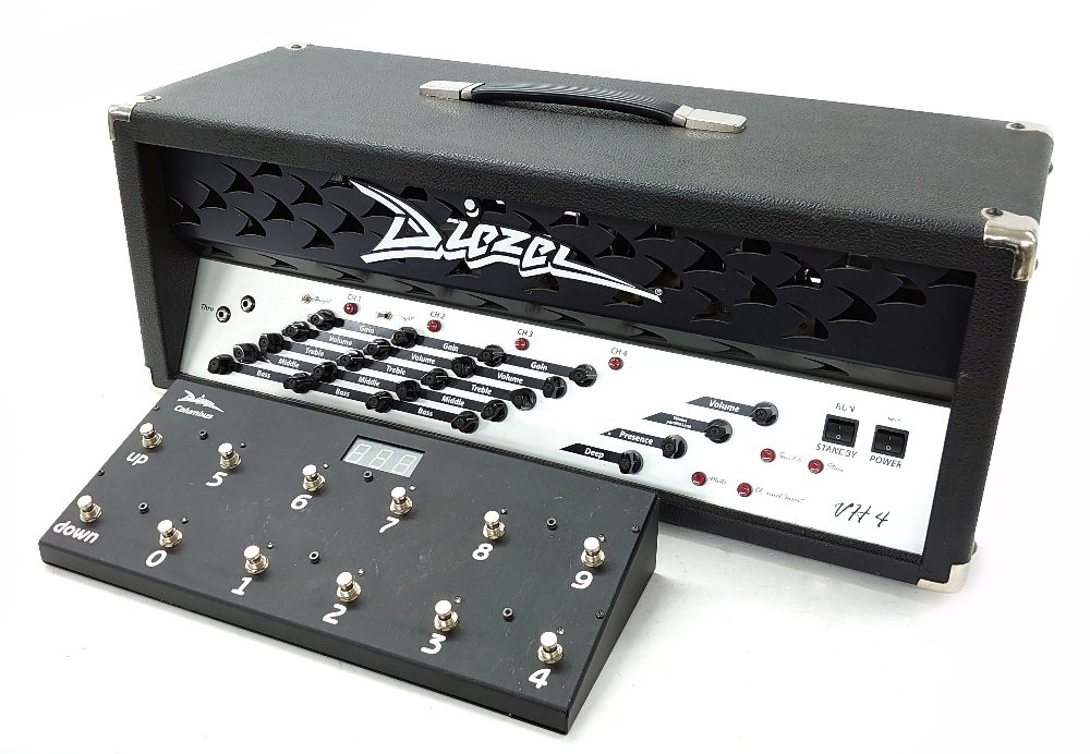 Diezel VH4 100W guitar amplifier head, made in Germany, together with a Diezel Columbus 10 bank midi