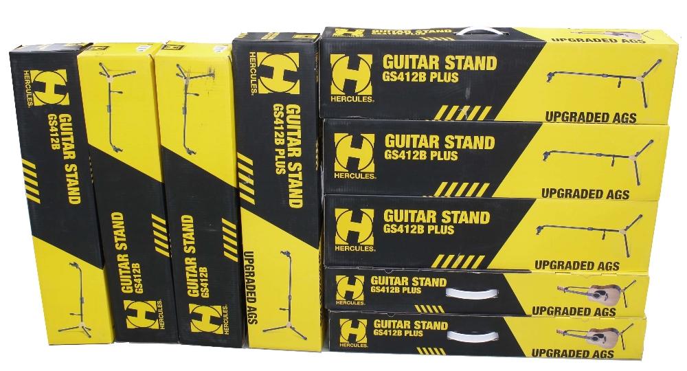 Six new and boxed Hercules GS412B Plus guitar stands; together with three new and boxed Hercules